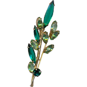 Pretty Vintage Green Rhinestone Brooch