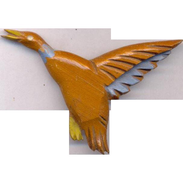 Fabulous Wooden Vintage Bird Brooch