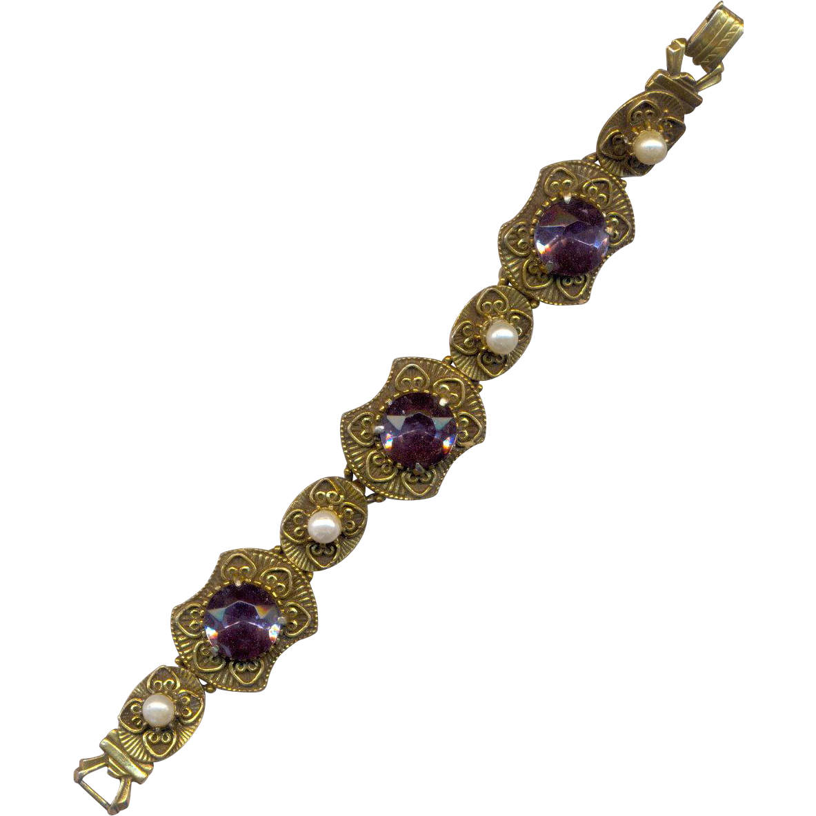 Vintage Bracelet with Purple Rhinestones