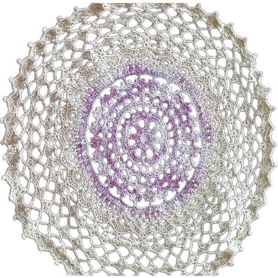 Ecru and Violet Mid Century Hand Crocheted Doily