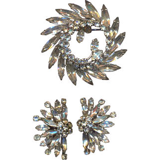 Vintage Clear Rhinestone Sherman Set of Brooch and Clip on Earrings