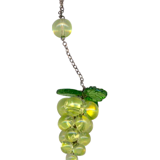 Vintage Glass and Sterling Grape Necklace