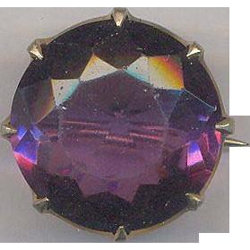 Vintage Crown Pin or Brooch with Purple Amethyst Color Rhinestone