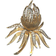 Vintage TRIFARI Goldtone with Rhinestones Flower Brooch