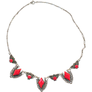Vintage 30's Red Glass and Brass Necklace