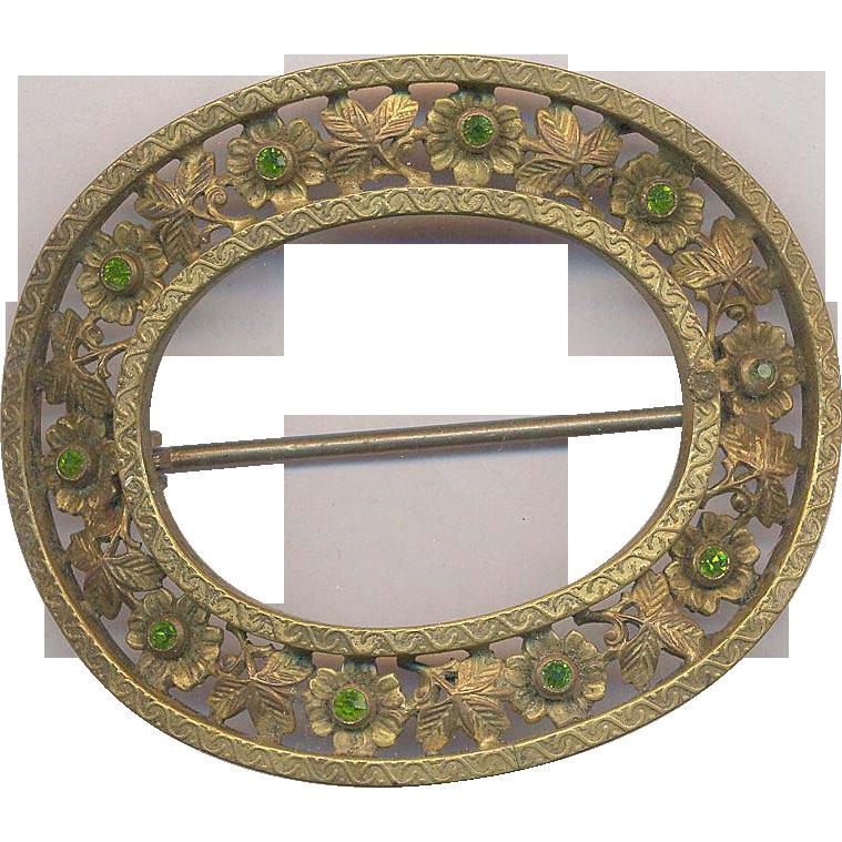Vintage Sash Pin with Peridot Color Stones