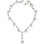Vintage 30's Deco Sterling Rhinestone Necklace