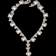Vintage 30's Deco Sterling Rhinestone Necklace