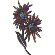 Vintage Rare Colors Cellulose Acetate Flower Brooch with Rhinestones