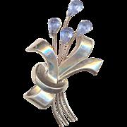 Vintage Sterling and Blue Rhinestones Flower Brooch