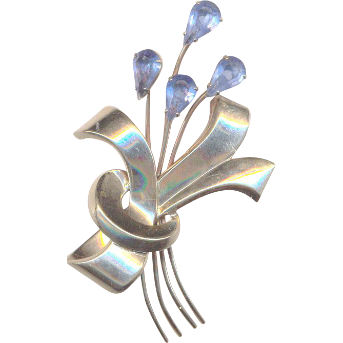 Vintage Sterling and Blue Rhinestones Flower Brooch