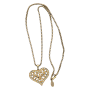 Vintage Miriam Haskell Heart Pendant Necklace with Rhinestones