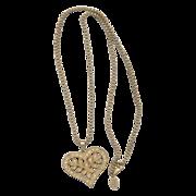Vintage Miriam Haskell Heart Pendant Necklace with Rhinestones