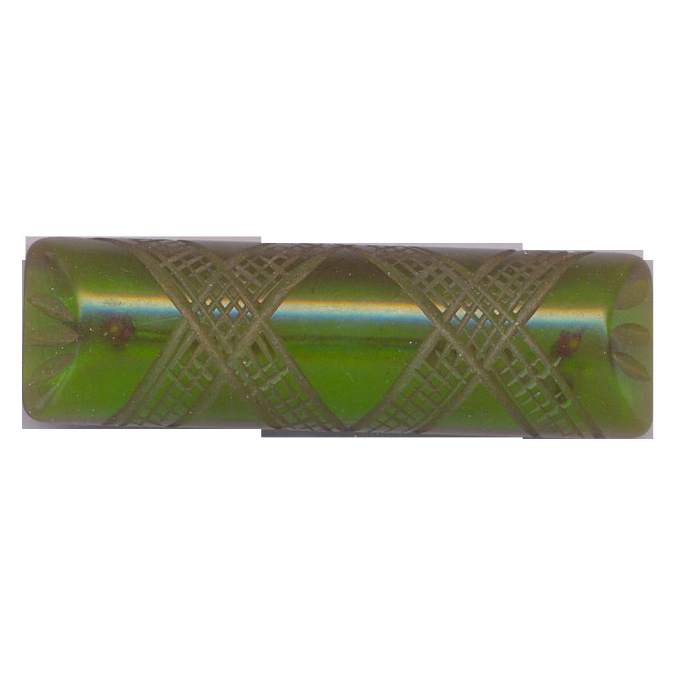 Vintage Green Prystal Translucent Bakelite Brooch