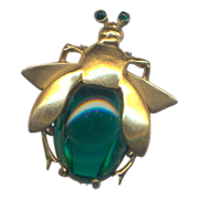 Vintage Green Glass Belly Beetle Furclip