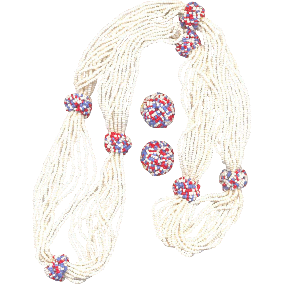 Vintage Hobe' Red, White and Blue Seed Bead Set