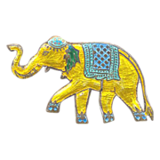Vintage Sterling Enamel Circus Elephant Brooch