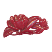Vintage Celluloid  Carved Red Flower Brooch