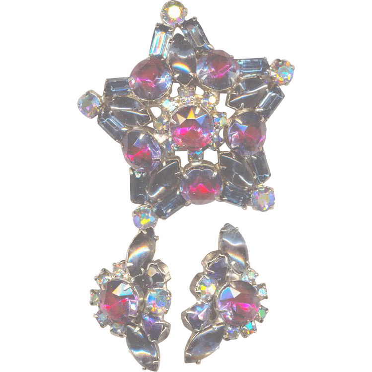 Vintage Effect Colors Rhinestone Star Set