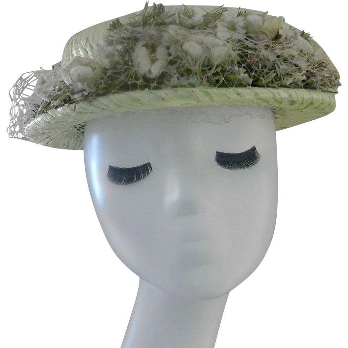 Vintage Adele Claire New York Unique Straw Hat (Pale Green)