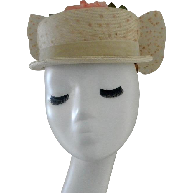 Vintage Beige Straw Hat with Hot Pink Roses and a Big Bow
