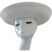 Vintage White Straw Hat with Gross Grain Ribbon Accent