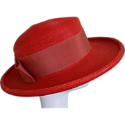 Vintage Studio Fashions Lipstick Red Straw Hat