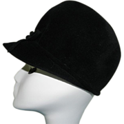 Vintage Lou Fox Character in Fashion Black Felt Cap/Hat with Bow