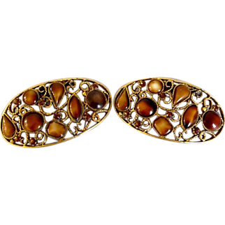Vintage Musi Shoe Buckles Clips Shades of Brown Stones in Filigree Design
