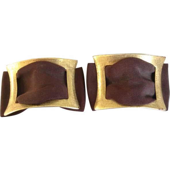 Vintage Musi Shoe Buckles Clips Brown Faille in Brushed Brass Color Rectangle