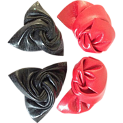 Vintage Pair of Black and Red Twisted Shoe Clips