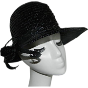 Vintage Black Straw Hat by Dana Marte' chapeau Originale