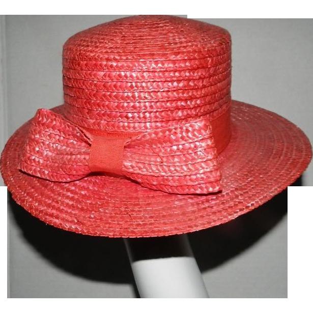 Vintage Pink Straw Hat by harve benard by Senard Holtzman