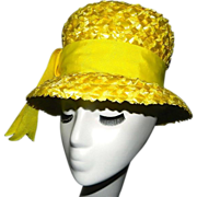 Vintage Yellow Straw Hat by Carson Pirie Scottque Chicago