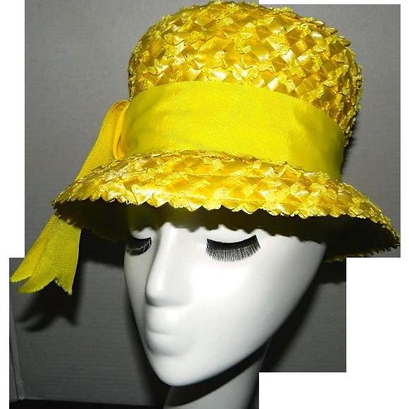 Vintage Yellow Straw Hat by Carson Pirie Scottque Chicago