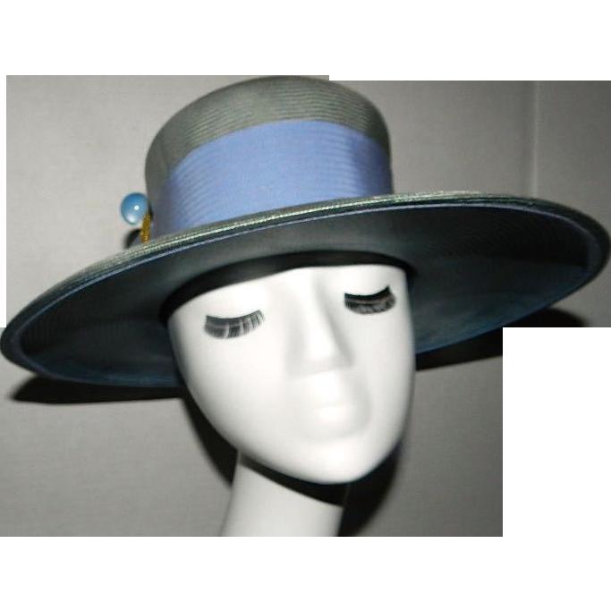 Vintage Blue Gray/Green Straw Hat label Winner Original