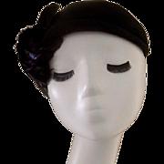 Vintage Mid Century Black Felt Hat with Black Feathers