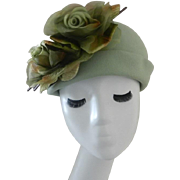 Vintage Dana Mart' Soft Green Felt Hat with Roses
