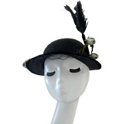 Vintage Navy Blue Straw Hat with Feathers and Rose Buds