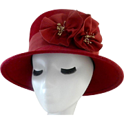 Vintage Deep Red Felt Hat with Ribbon Flowers and Band