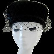 Vintage Black Felt Hat with Heavy Net Cain Sloan Nashville