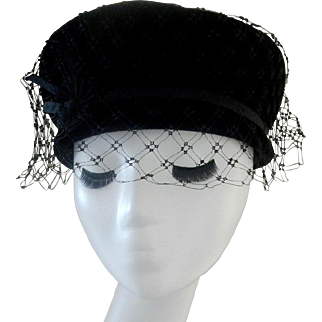 Vintage Black Felt Hat with Heavy Net Cain Sloan Nashville
