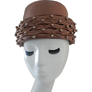 Vintage Light Brown Soft Material Hat with Soft Brown Beads