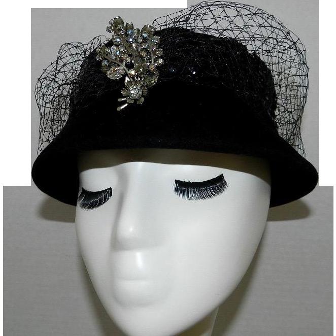 Vintage Juli Kay Black Wool Hat with Vintage Style Pin