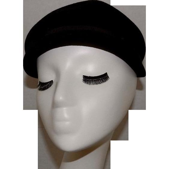 Vintage Black All Wool Hood Made in England # 2077