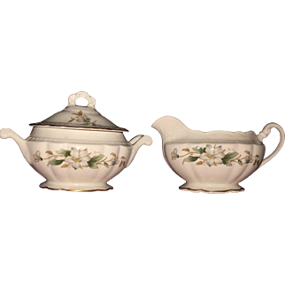Vintage Covered Sugar Bowl with Creamer Embassy USA Vitrified China