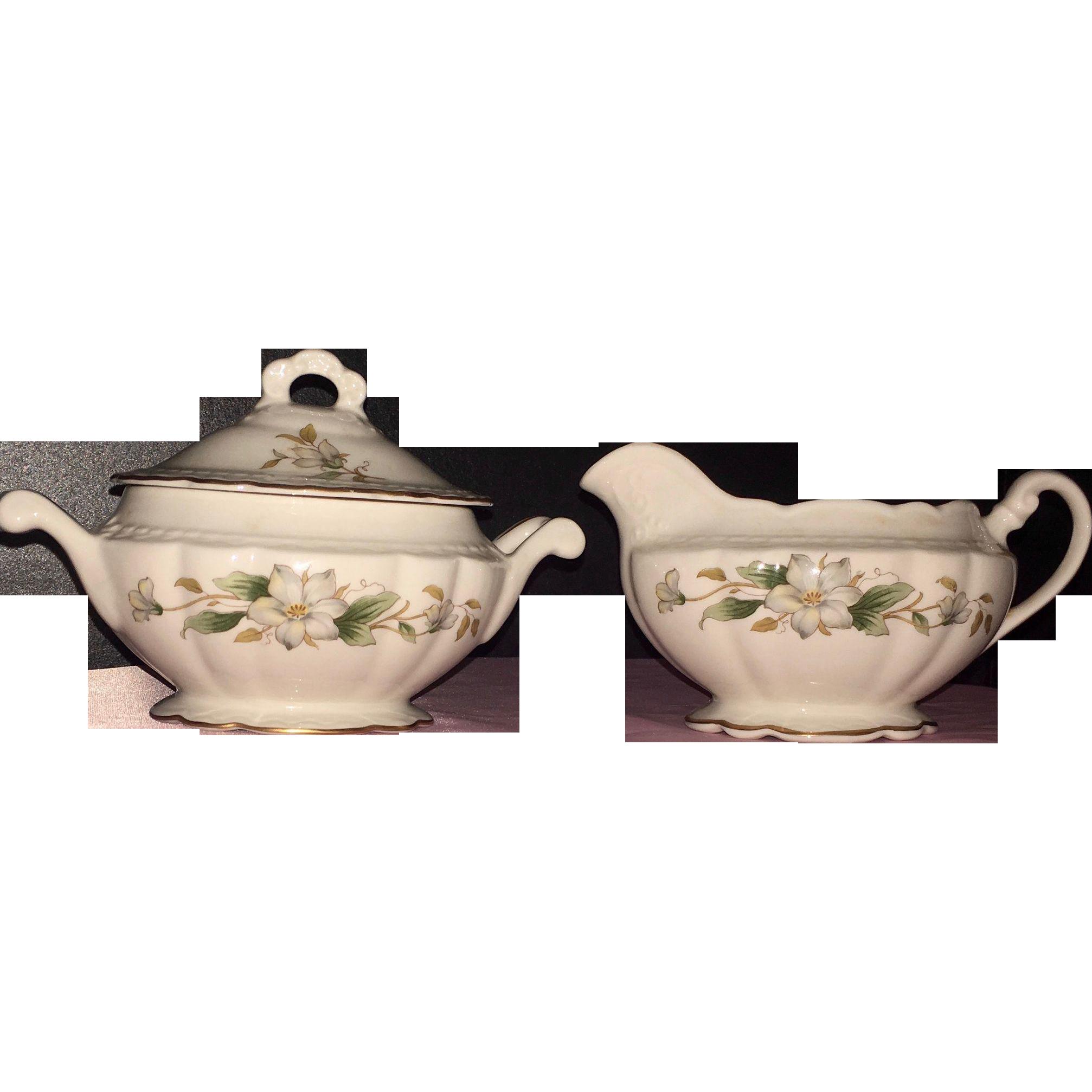 Vintage Covered Sugar Bowl with Creamer Embassy USA Vitrified China
