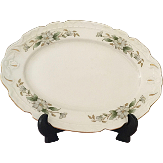 Vintage Oval Serving Platter in Dogwood by Embassy (American)