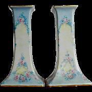 Vintage O.&EG. Austria Pink/Blue Floral Candle Holders