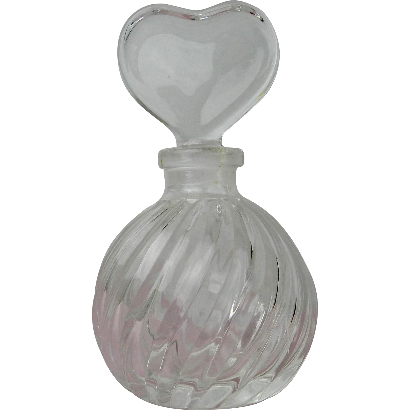 Vintage Crystal Perfume Bottle Swirl Design Heat Shaped Stopper